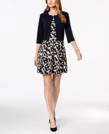 Jessica Howard Petite Belted Printed Dress & Solid Jacket