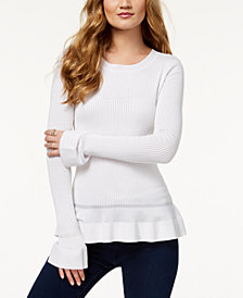 MICHAEL Michael Kors Flounce-Trim Perforated Sweater
