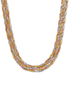 Tri-Color Braided Herringbone Statement Necklace in 10k Gold, White Gold & Rose Gold