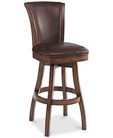 "Raleigh 30"" Bar Height Swivel Wood Barstool in Chestnut Finish and Kahlua Faux Leather"
