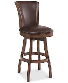 """Raleigh 30"""" Bar Height Swivel Wood Barstool in Chestnut Finish and Kahlua Faux Leather"""