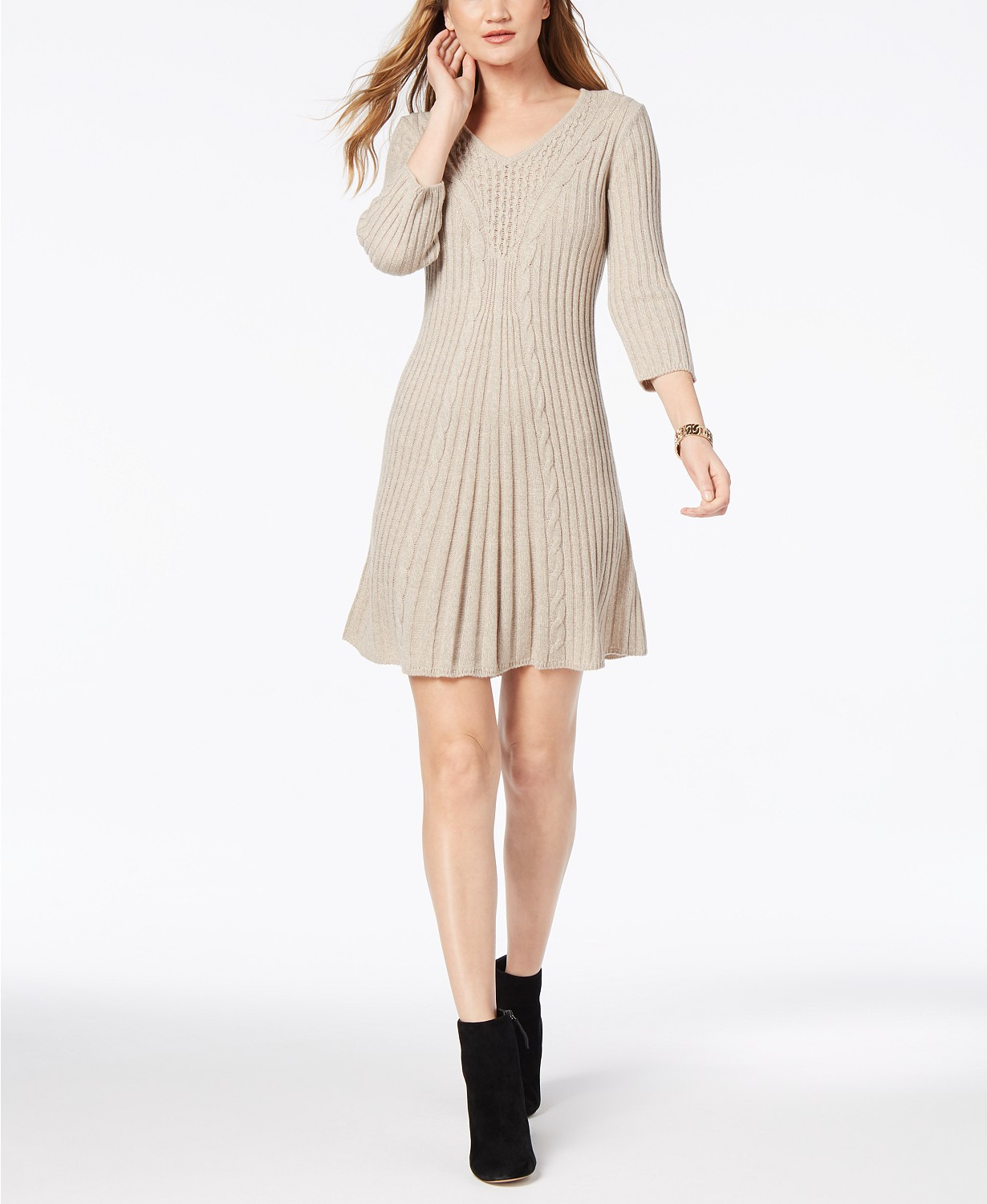 NY Collection Petite V-Neck Cable-Knit Sweater Dress