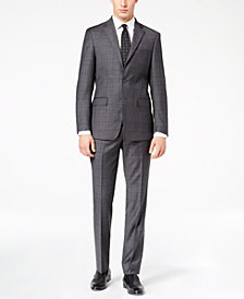 Calvin Klein Men's Slim-Fit Charcoal Windowpane Suit