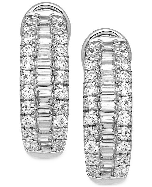 Macy's Diamond Hoop Earrings (1-1/2 ct. t.w.) in 14k White Gold