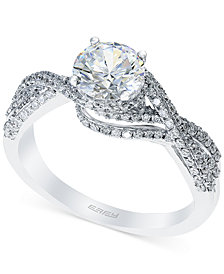 Bridal by EFFY® Diamond Crisscross Engagement Ring (1-3/8 ct. t.w.) in 14k White Gold