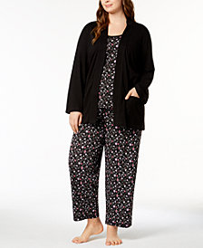 Charter Club Plus Size 3-Piece Cotton Pajama Set, Created for Macy's