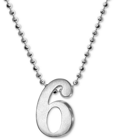 Alex Woo Number 6 Pendant Necklace in Sterling Silver