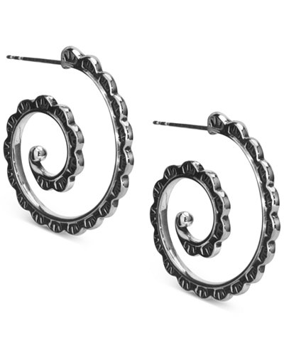 American West Beaded Swirl Hoop Earrings in Sterling Silver