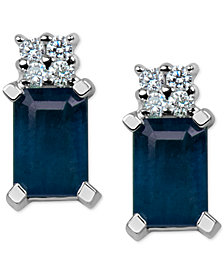 Sapphire (1-3/8 ct. t.w.) & Diamond Accent Stud Earrings in 14k White Gold