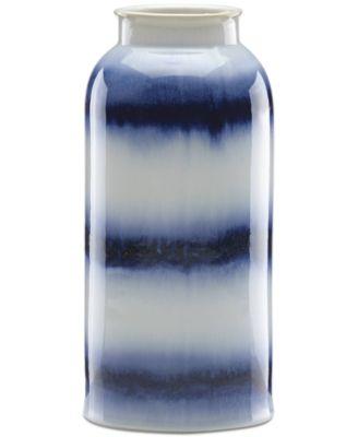 Painted Indigo Drip Glaze Tall Vase