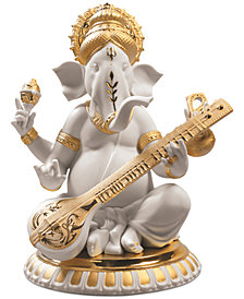Lladró Veena Ganesha Golden Re-Deco Figurine