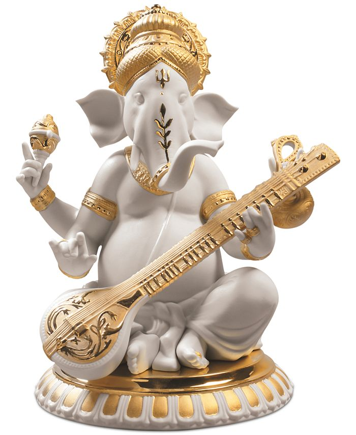 Lladró - Veena Ganesha Golden Re-Deco Figurine