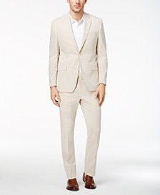 CLOSEOUT! Lauren Ralph Lauren Men's Classic-Fit Ultraflex Tan/White Seersucker Suit