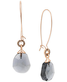 Kenneth Cole New York Gold-Tone Black Crystal Drop Earrings