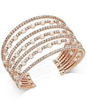 I.N.C. Rose Gold-Tone Pearl & Pavé Multi-Row Cuff Bracelet, Created for Macy's