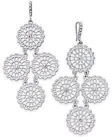 I.N.C. Silver-Tone Crystal Circle Chandelier Earrings, Created for Macy's