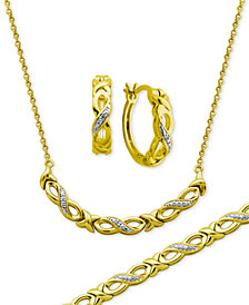 Diamond Accent Infinity Hoop Earrings, Collar Necklace and Link Bracelet Set in 18k Gold over Silver-Plate
