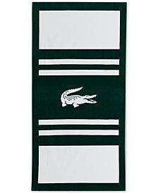 """Lacoste Pop Cotton Stripe Logo-Print 36"""" x 72"""" Beach Towel"""