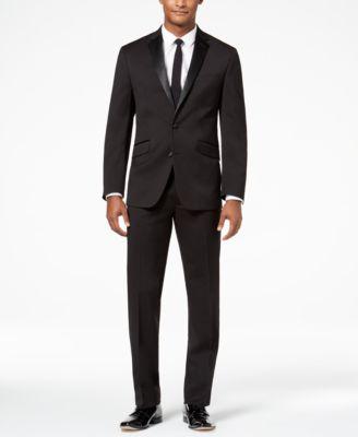 Kenneth Cole Reaction Men's Ready Flex Slim-Fit Stretch Black Notch Lapel Tuxedo