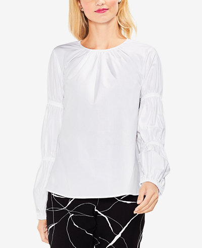 Vince Camuto Shirred-Sleeve Top