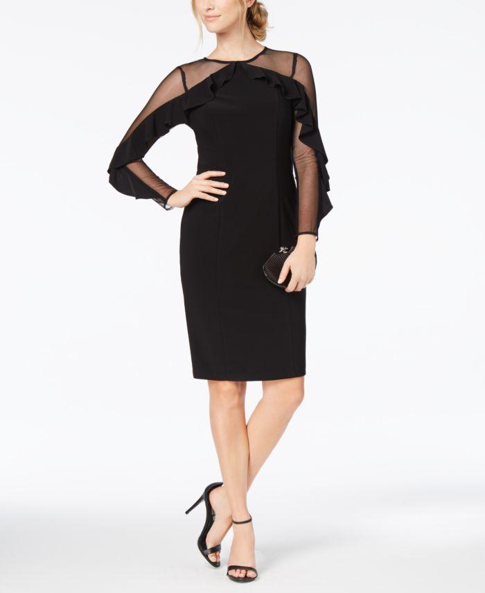 R & M Richards Illusion-Sleeve Dress & Reviews - Dresses - Petites - Macy's
