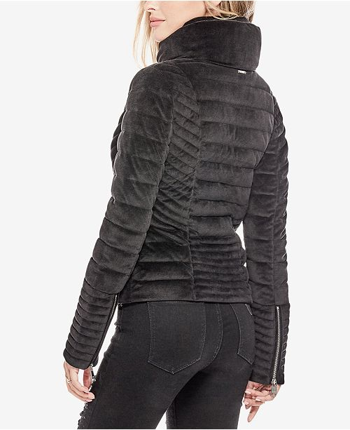 19fd11d80f420 GUESS Teoma Velvet Puffer Jacket   Reviews - Jackets   Vests ...