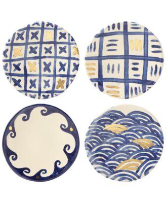 Lenox-Wainwright Pompeii Blu 4-Pc. Canapé Plate Set, Created for Macy's