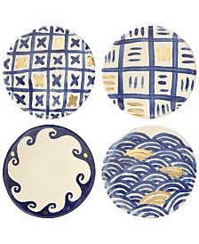 Lenox-Wainwright Pompeii Blu 4-Pc. Canapé Plate Set, Created for Macy's