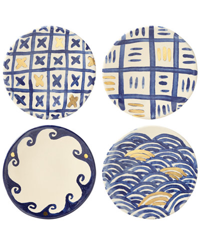 Crafted by Wainwright Pompeii Blu 4-Pc. Canapé Plate Set, Created for Macy's