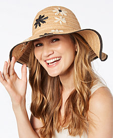 I.N.C. Embroidered Flower Floppy Hat, Created for Macy's