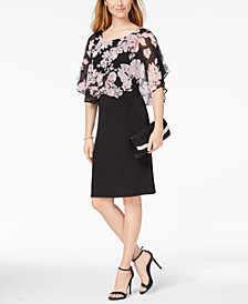 Connected Petite Printed Chiffon-Overlay Sheath Dress