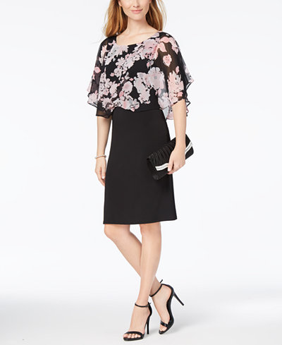 Connected Petite Printed Chiffon-Overlay Sheath Dress