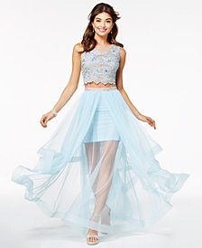 Say Yes to the Prom Juniors' 2-Pc. Embellished Tulle Gown, Created for Macy's