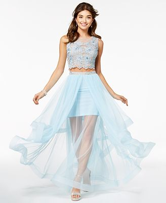 Say Yes To The Prom Juniors 2 Pc Embellished Tulle Gown Created