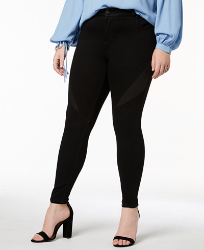 RWN By Rawan Plus Size Contrast Inset Skinny Ankle Jeans