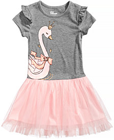 Epic Threads Swan Graphic-Print Popover Dress, Little Girls, Created for Macy's