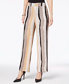 Nine West Abstract-Stripe Wide-Leg Trousers