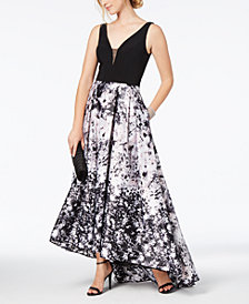 Xscape Solid & Floral-Print Mesh Gown