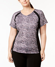 Ideology Plus Size Space-Dyed Performance Top, Created for Macy's