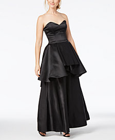 Fame and Partners Strapless Peplum Gown
