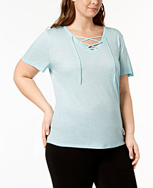 Ideology Plus Size Lace-Up T-Shirt, Created for Macy's
