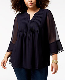 Charter Club Plus Size Pintucked Tunic, Created for Macy's