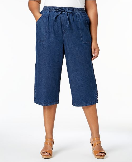 56330812fc507 ... Karen Scott Plus Size Denim Capri Pants