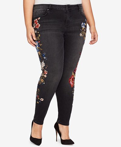 WILLIAM RAST Plus Size Perfect Embroidered Skinny Jeans