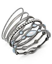 I.N.C. Hematite-Tone 6-Pc. Set Stone and Crystal Bangle Bracelets, Created for Macy's