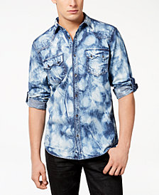 I.N.C. Men's Acid Wash Denim Shirt, Created for Macy's