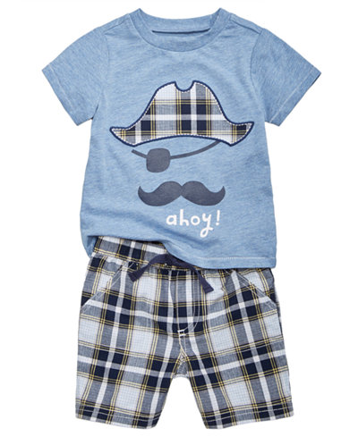 First Impressions Ahoy-Print T-Shirt & Plaid Shorts, Baby Boys, Created for Macy's