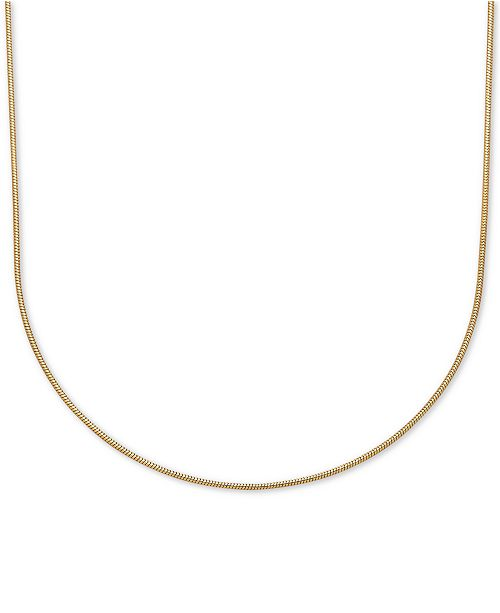 "Italian Gold 18"" Rounded Snake Chain Necklace (3/4mm) in 14k Gold"
