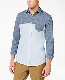 American Rag Men's Colorblocked Denim Shirt, Created for Macy's