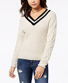American Rag Juniors' Varsity Lace-Up-Sleeve Sweater, Created for Macy's